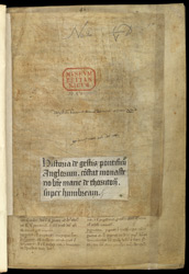 Title-Piece With Ownership Inscription From A Binding, In William Of Malmesbury, De  Gestis Pontificum Anglorum